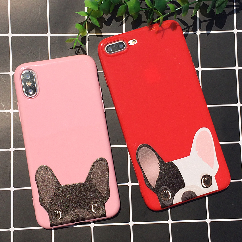 Docile Dog Bulldog Pink And Red Lovely Case For iPhone X 10 Case Soft Silicon Cover For iPhone 7 Plus 8 Plus 6s Case