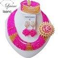 Золото и Ярко-Розовый Африканские Бусы Комплект Ювелирных Изделий Для Нигерии Свадьба AL019