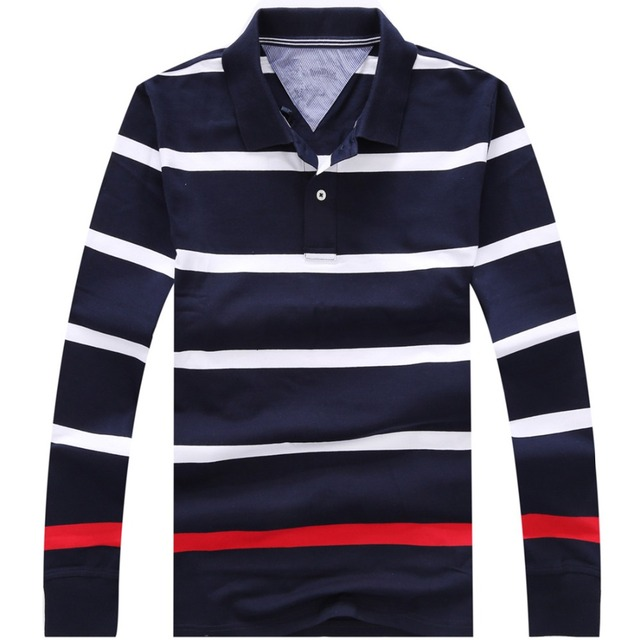 Autumn New Fashion Cotton Long Sleeve Men Brand Polo Shirt Camisa Top Quality Breathable Blue and Black Striped Male Polos M/XXL