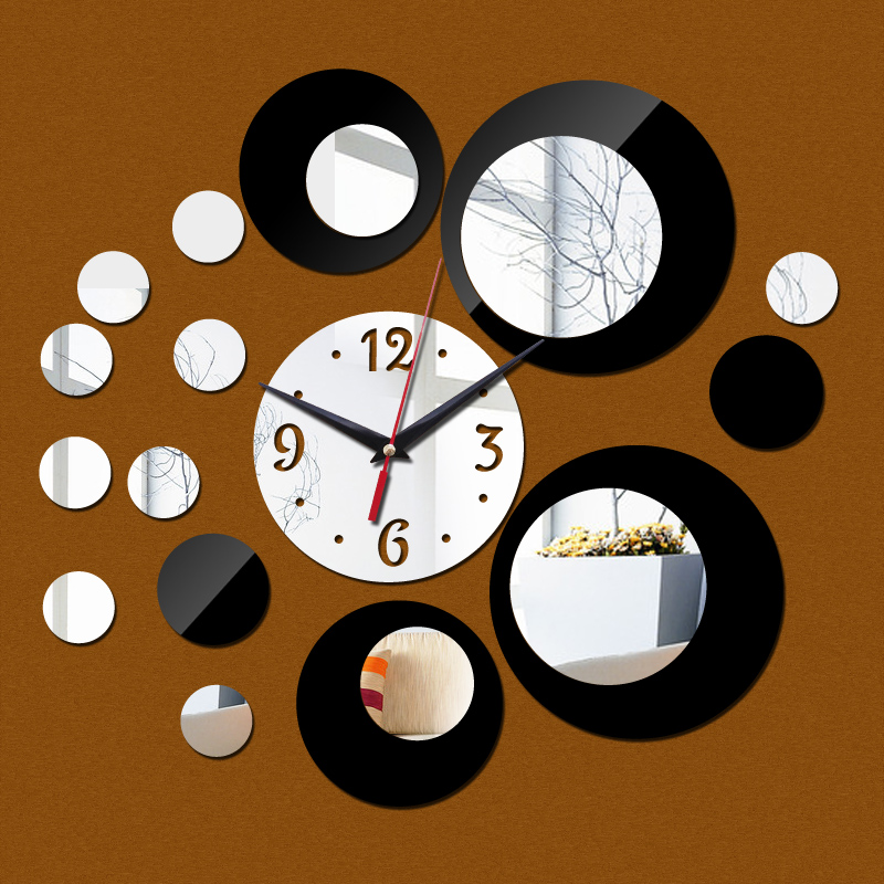 Hot 3d Acrylic Clock Poster Mirror Wall Sticker-Free Shipping For Kitchen 3D Wall Stickers Clock Wall Stickers Living Room mirror wall stickers