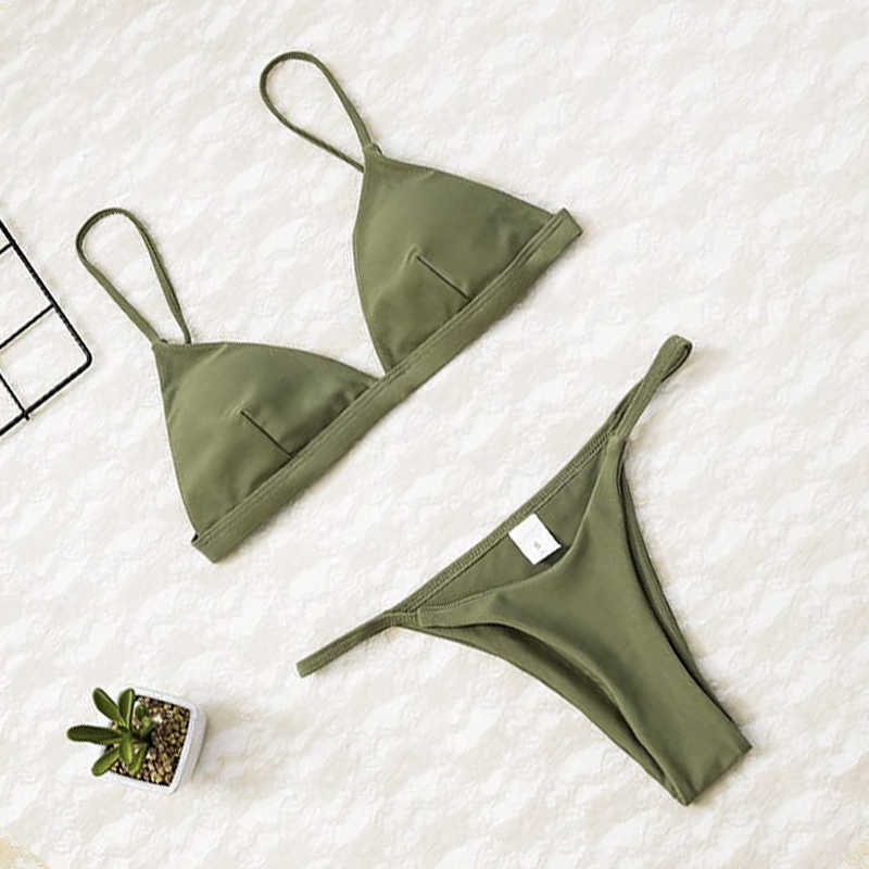 2019 damskie bikini micro zestaw Push Up stroje kąpielowe stałe plaża strój kąpielowy brazylijski stringi strój kąpielowy dla bikini dziewczęce kostium kąpielowy Femme