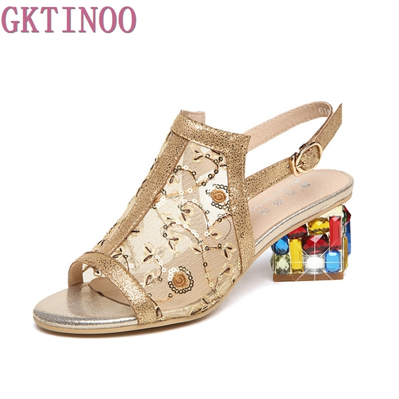Rhinestones Women Sandals Genuine Leather Summer Open Toe Sandals Thick Heel High-heeled Shoes Black Gold Women's Gauze Shoes