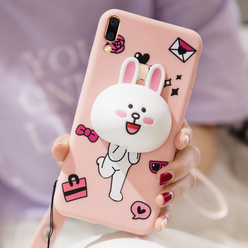 VIVO V9 youth 6.3inch Case,ALIVO Cartoon 3D Cute bear rabbit silicone Fitted Case+Storage earphone Cable for vivo Y71 5.99