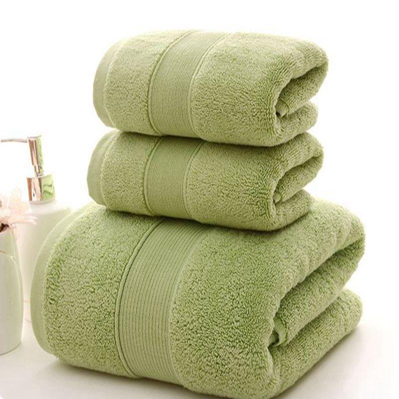 Ensembles de serviettes à rayures unies solides de haute qualité épaississement 100% coton grande serviette de bain hôtel Absorption d'eau serviette de visage douce