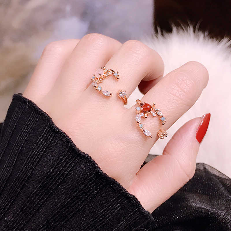 Korean Style Rings For Women Cubic Zircon Girls Anillos Trendy Crystal Bague Femme Adjustable Sweet Moon Rings Party Gifts
