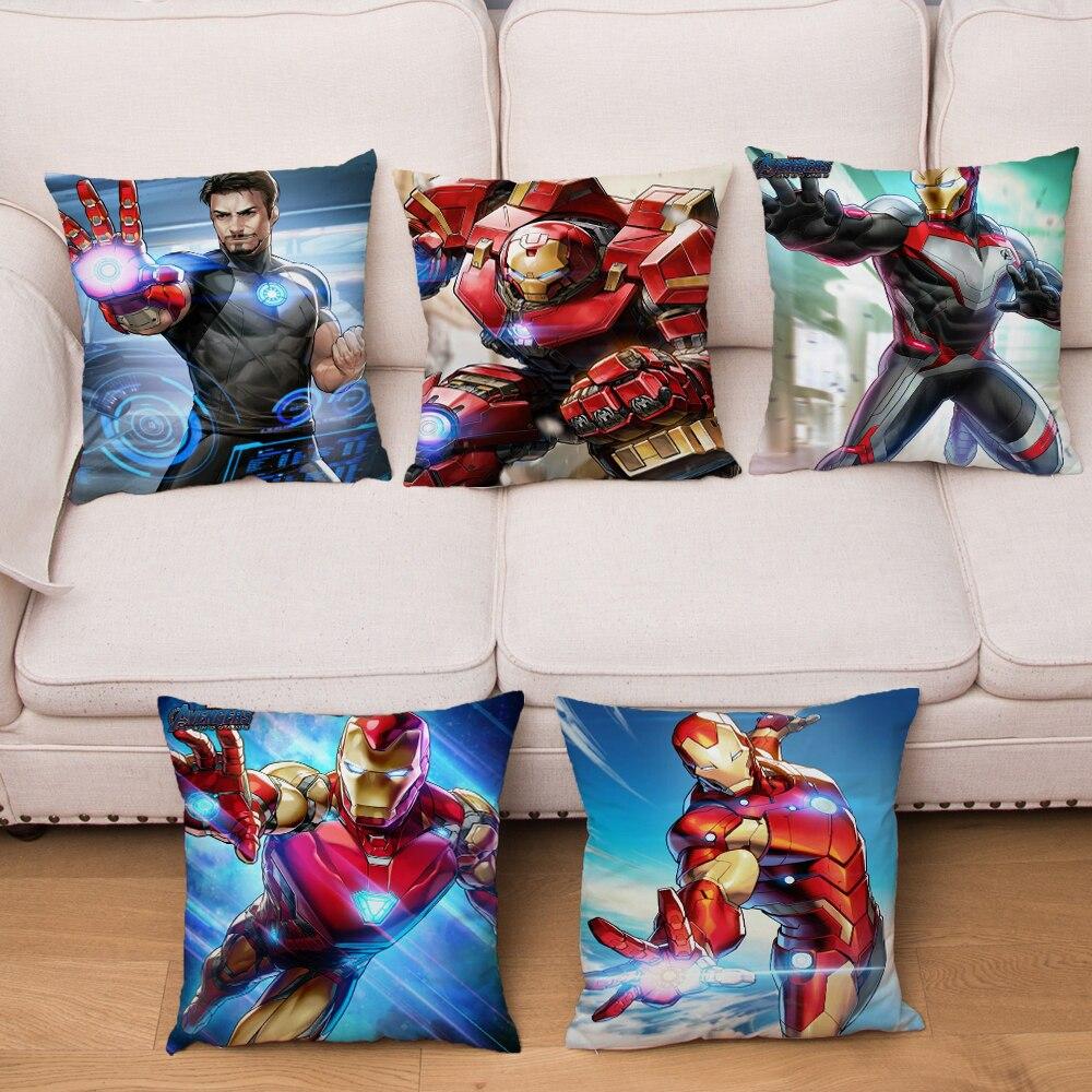 Super Soft Short Plush Cartoon Marvel Avengers Iron Man Cushion Cover Sofa Iron Man Pillow Case Decor America Anime Pillow Cover