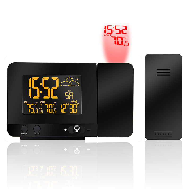 Radio contraolled Projection Alarm Clock Weather Station with Temperature Sensor Colorful LCD Display Weather Forecast