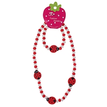 Red Wood Beads Cute Animal Insect Kids Necklace Bracelet Set