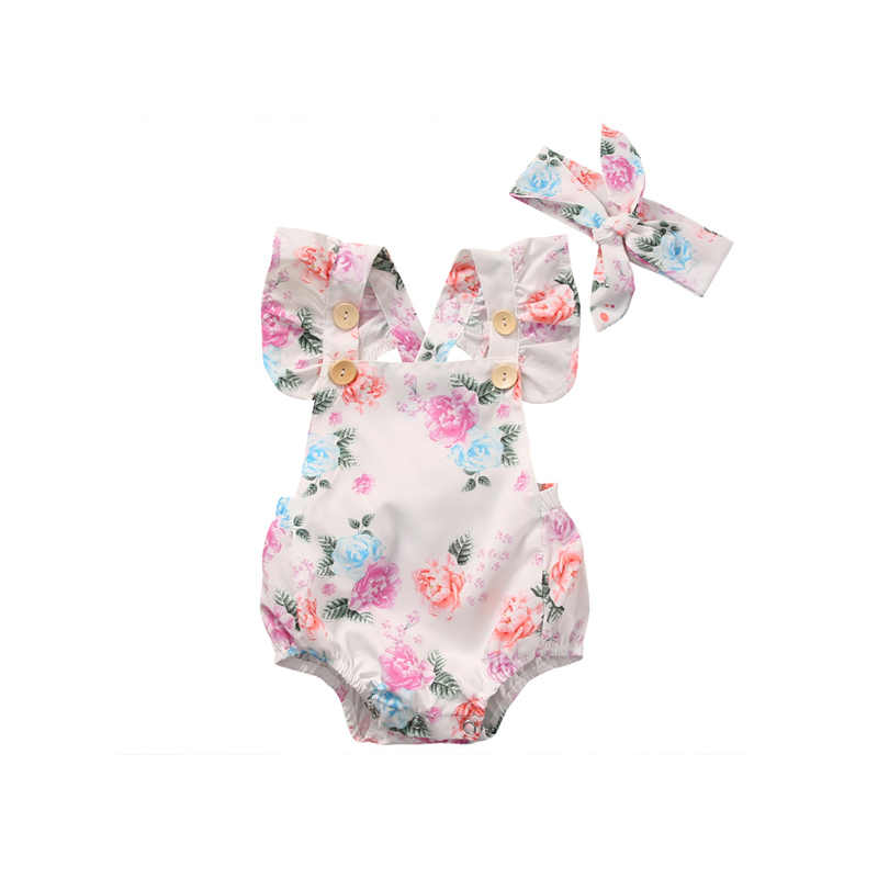 2017 2PCS Summer Lovely Floral Newborn Toddler Baby Girls Short Sleeve Square Collar Print Bodysuit Headband Outfit Party 0-24M
