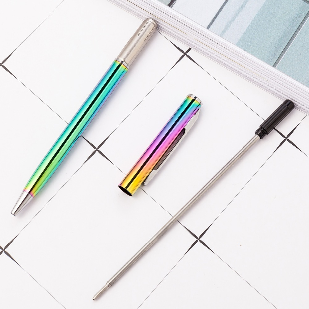 Creative ballpoint pen fluorescent green metal male and female student supplies office ballpoint pen advertising pen metal gift in Ballpoint Pens from Office School Supplies