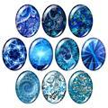 Новые Синие узоры 13x1 8 мм/18x2 5 мм/30x40 мм Смешанные овальные фото стекло кабошон демонстрационный плоский обратно ювелирных изделий результат...