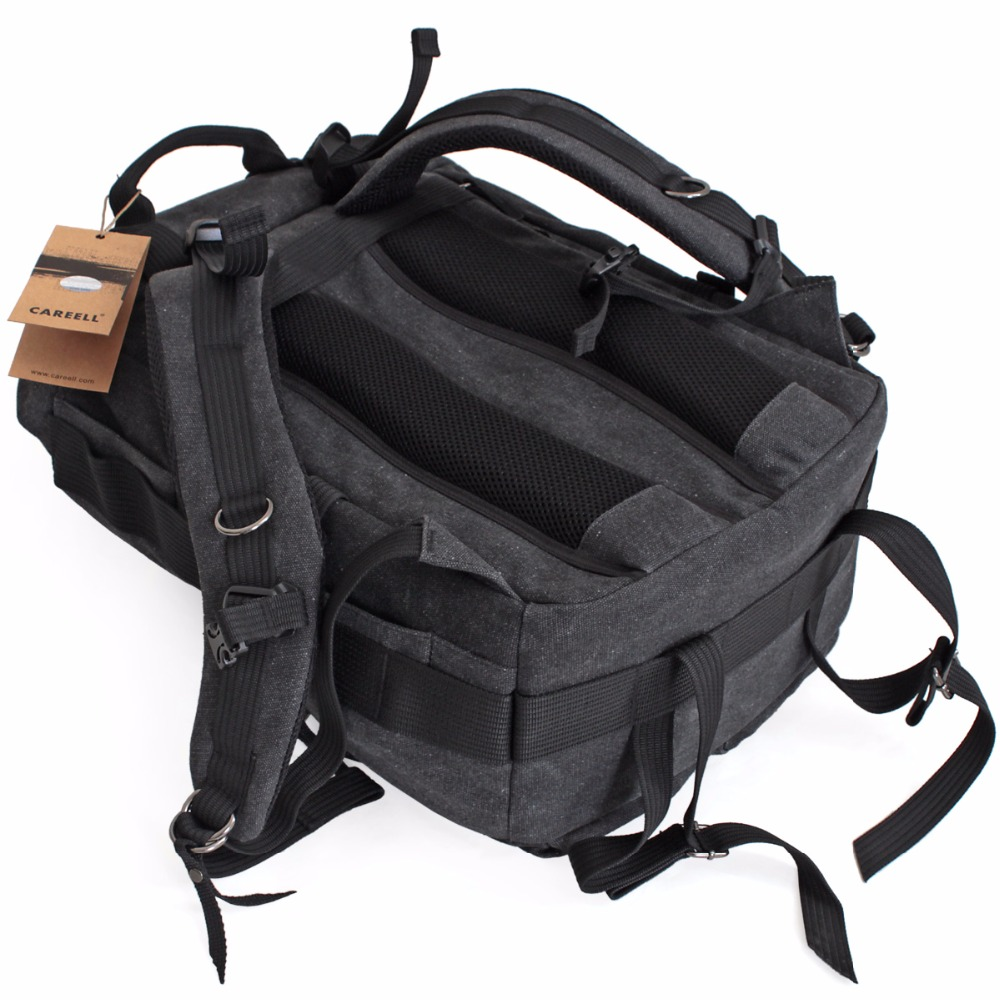 CAREELL double shoulder camera bag slr camera bag canvas vintage fashion digital camera backpack c003 in Camera Video Bags from Consumer Electronics
