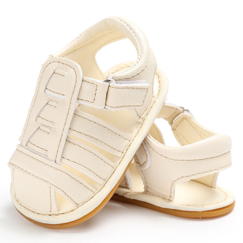 Popular Solid Leather PU Toddler Baby Infant Boy Soft Sole Summer Non-Slip First Walkers Shoes