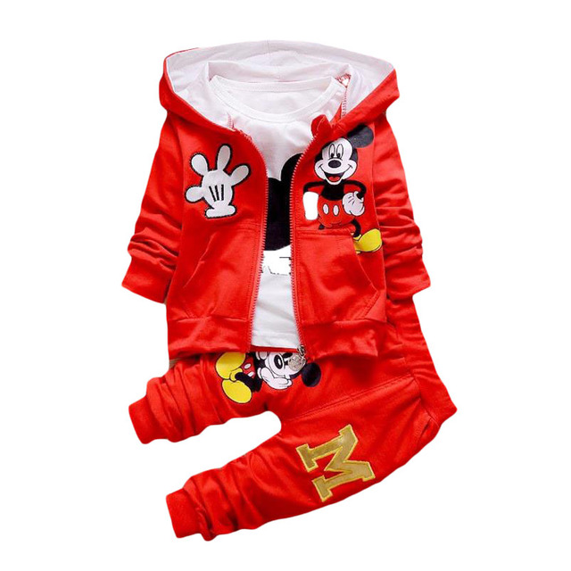 2018Baby Kids Girls Minnie Clothing Set Children Autumn 3 Pcs Sets Hooded Jacket Coat Vest Suits Cotton Boys Cartoon Clothes