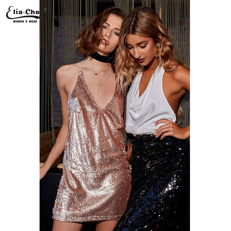 9ff629a93636 Women Sexy Clubwear Dress Deep V neck Backless Sequin Mini Dress Fashion  Spaghetti Strap Party Dresses 8368-in Dresses from Women's Clothing on ...