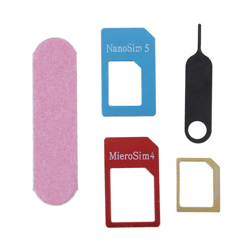 5in1 Micro Standaard Sim Card Adapter Kit Converter Met Sander Bar Tray Open Naald Voor iPhone 5 S 7 Plus 6 S xiaomi redmi 3 s Hot