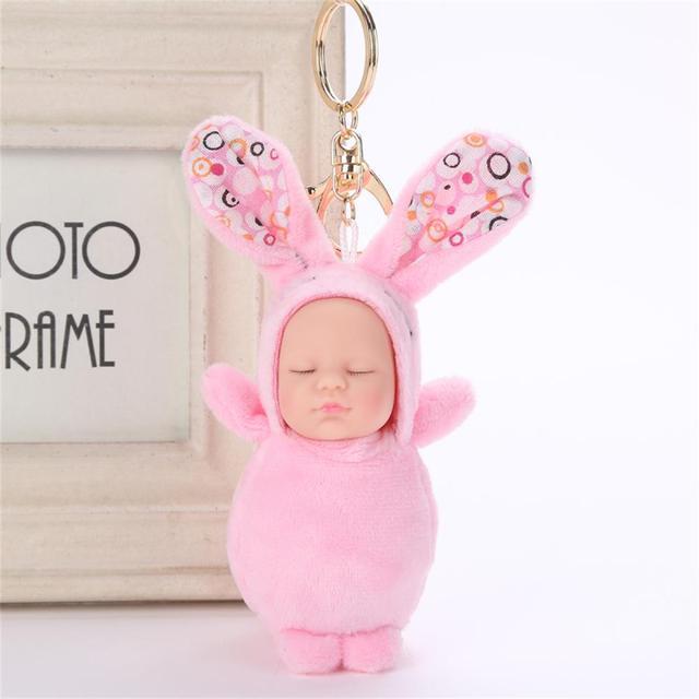 1 Pcs Adorável Fluffy Bebê Dormindo PompomKey Chaveiro Fashion Faux Rabbit Fur Mulheres Sacos Cadeia Pingente de Chave Do Carro Anel de Jóias