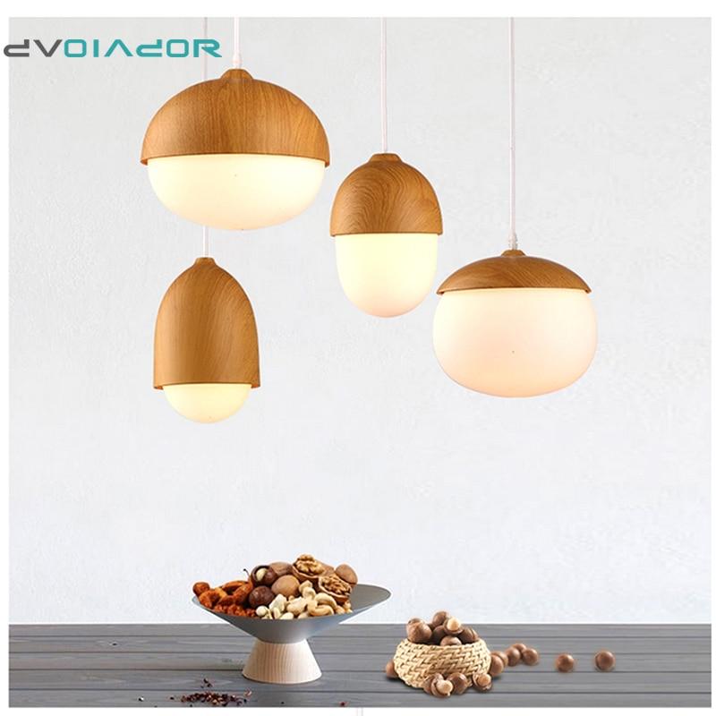все цены на Slope lamps Pendant Lights Wood Village Restaurant Bar Coffee Dining Room E27 Nut LED Hanging Light Fixture light