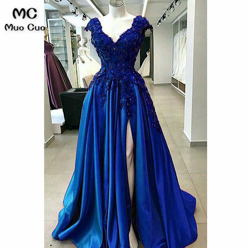 Elegant 2018 A-line   Prom     Dresses   with Beaded Appliques Lace Up Back Front Split Pleat   Prom     Dress   for women Evening Party   Dresses