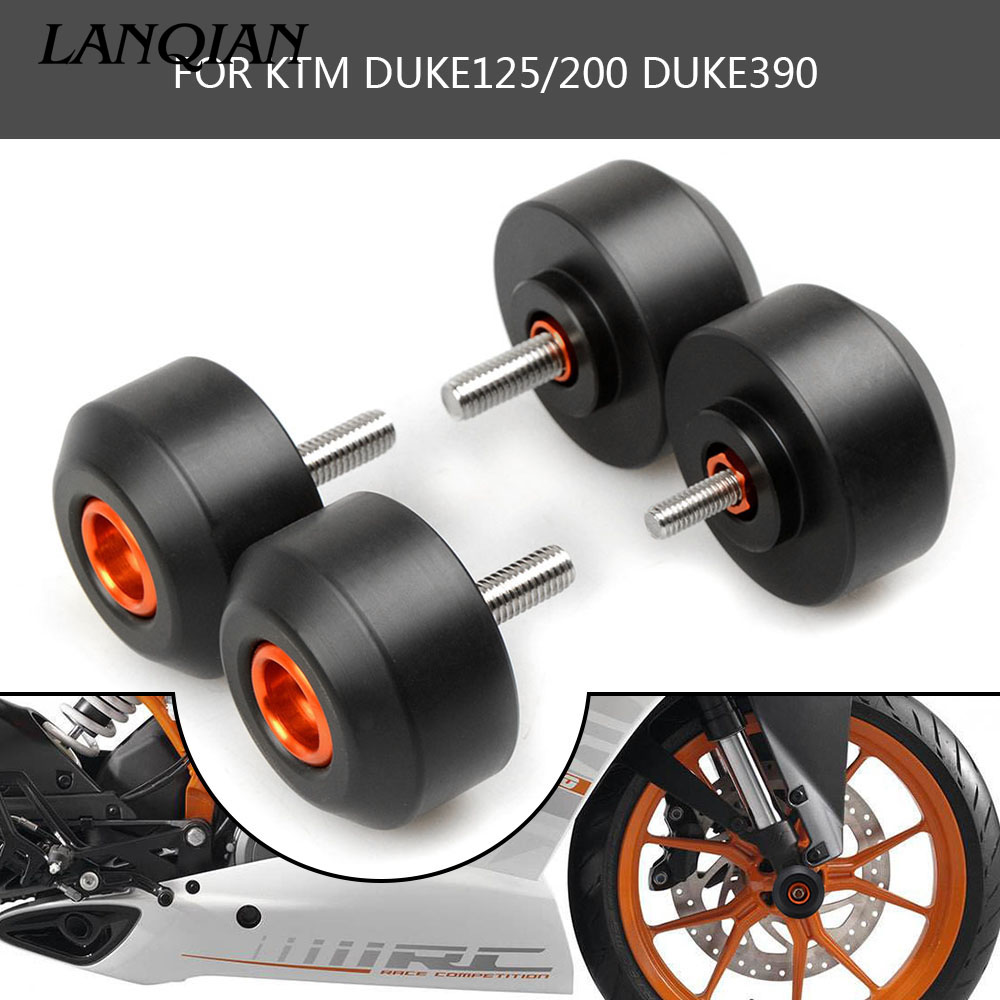 Motorcycle Frame Slider For KTM Duke 125 200 390 Front and Rear Fork Wheel Frame Slider Crash Pads Falling Protection