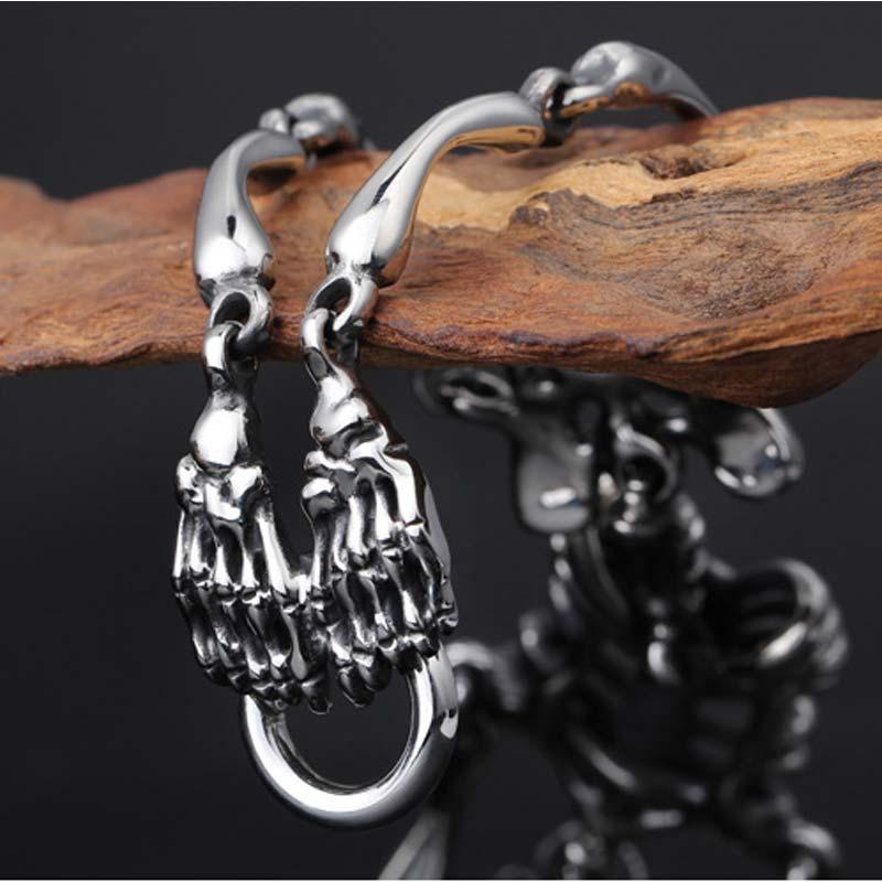 Bracelet squelette en acier inoxydable bijoux gothiques Punk pour hommes bijoux masculins en titane - 5