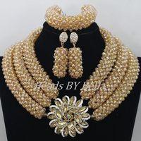 Горячие золото Стекло Бусины кос Для женщин Цепочки и ожерелья Свадебные Кружево Jewlery нигерийской свадьбы Африканский Бусины комплект ювел