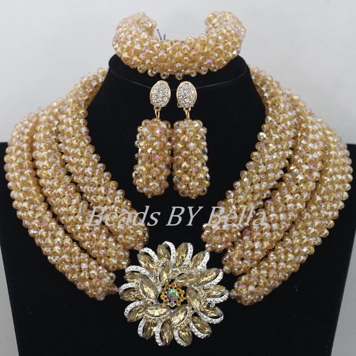 Hot Gold Crystal Beads Braid Women Necklace Bridal Lace Jewlery Nigerian Wedding African Beads Jewelry Set Free Shipping ABF471 2018 hot sale nigerian african lace fabrics french guipure tulle gold line bridal lace fabric for wedding party dress 5yds c8415