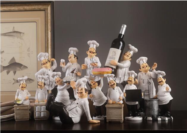 Creative Resin Cook Kitchener Chefs Decoration Fashion Chef Decor Bar Showcase Restaurant Cafe Cake Shop Display Figure Statue