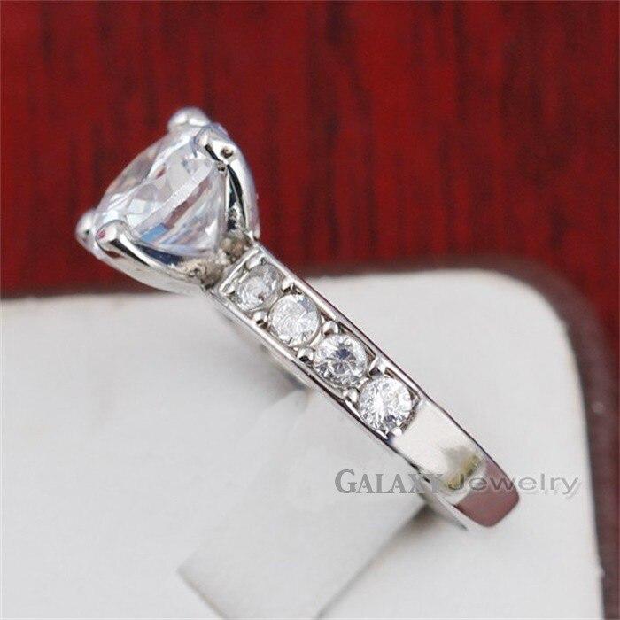 Классические Четыре зубец кольцо из белого золота обручальные кольца комплект 2 карат SONA обручальное кольцо с фианитами кольца для Для женщ... - 4