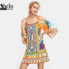 SheIn Multicolor Tribal Print Kimono Sleeve Boho Dress Summer Cold Shoulder Three Quarter Length Sleeve Shift Dress