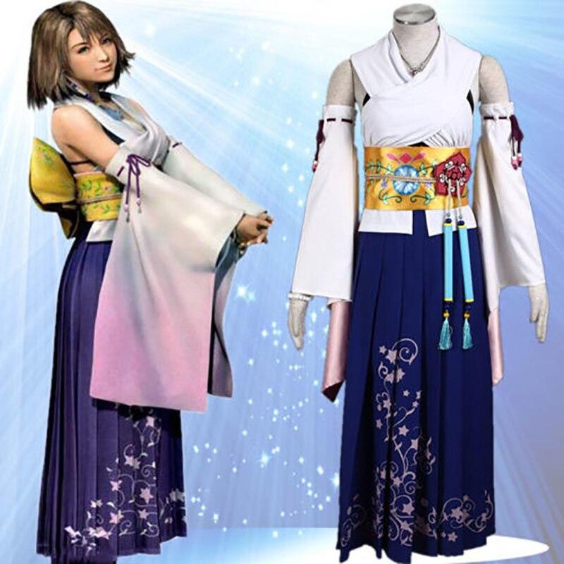 Final Fantasy X Yuna Dress Cosplay Costume Full Set Halloween Kimono Costumes for Women Long Dress