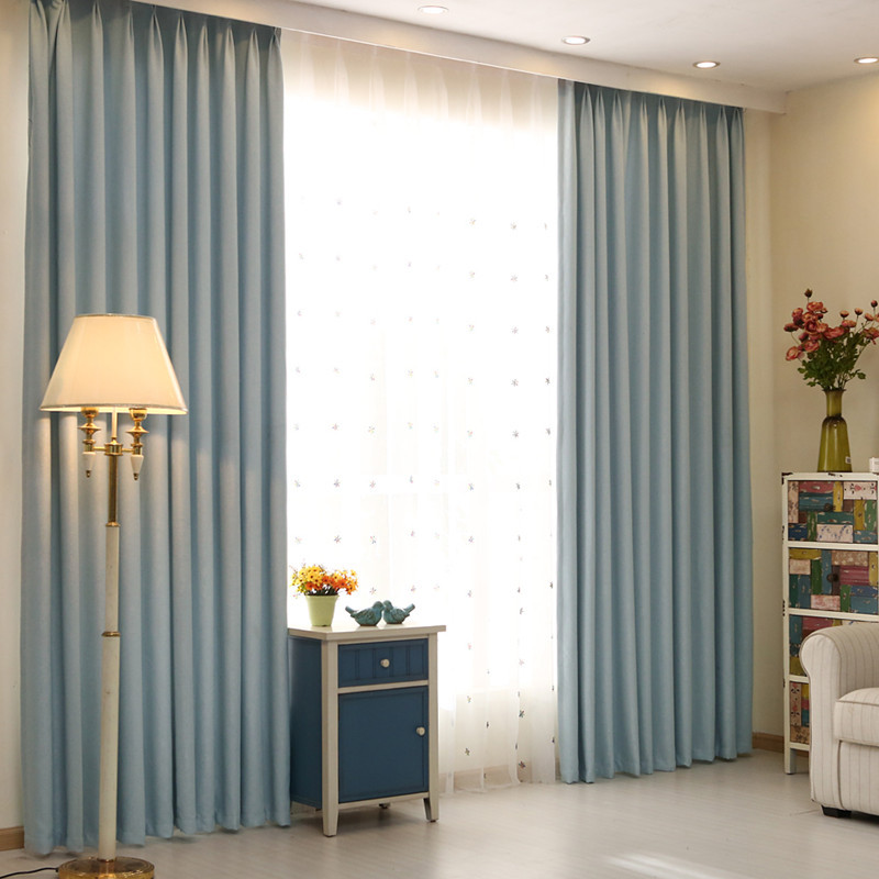 The New Nordic Style Cotton Thickened Solid Shade Bedroom Curtains Finished Customized tesoura de tosa fenice