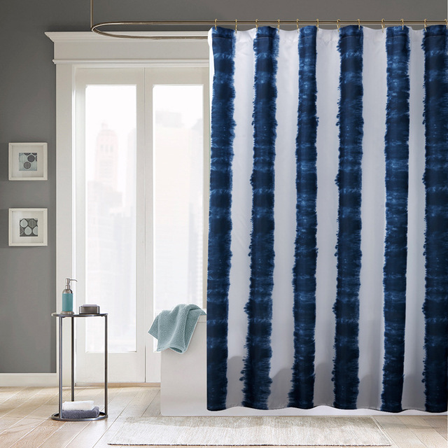 New Waterproof Fabric Shower Curtains Blue White Stripe Printed Mildewproof Polyester Without Hooks Bath Decor