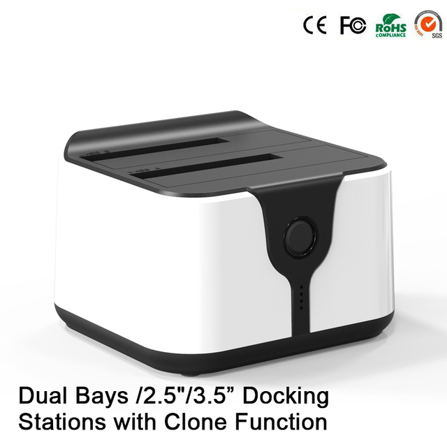 blueendless Double bay external hdd sata hdd case high quality best docking station usb hdd black 2bay high speed enclosure HD05