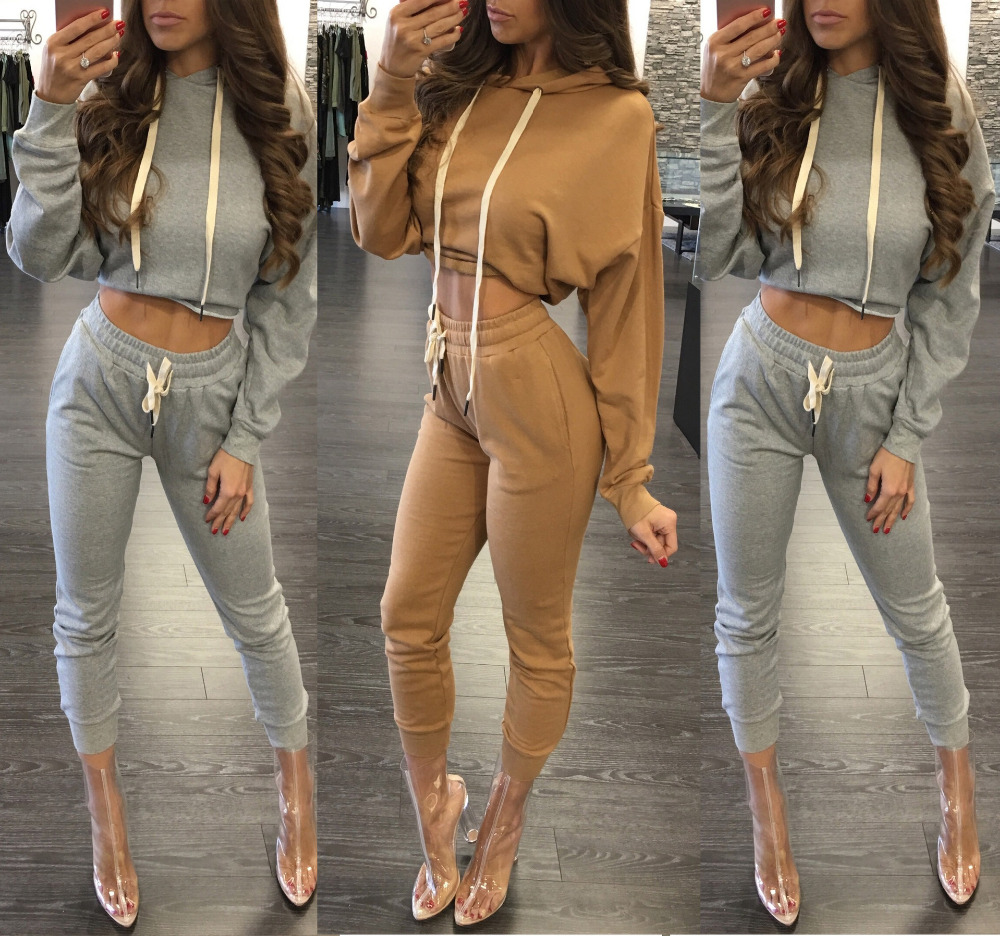 f6e0b328985d Sew 2 Piece Set Cropped Hoodie Women Long Sleeve Women Gray Hooded Outfits  Sexy Ladies Crop Top Pants Suits Sudaderas Mujer 2016-in Women's Sets from  ...