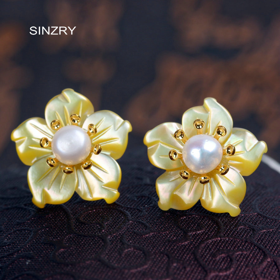 SINZRY 925 sterling silver natural shell flower earrings elegant vintage pearl stud earrings for women pair of vintage rhinestoned openwork flower shape stud earrings for women