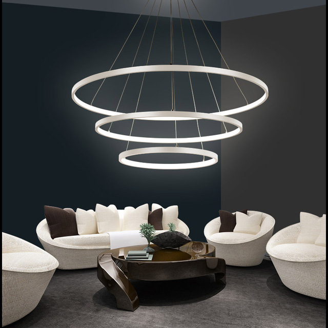 Led modern circle pendant light for living room luminaires for Wohnzimmerleuchten led modern