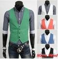 2015 de la moda de los hombres de primavera chaleco Chaleco de Los Hombres blazer chalecos 5 colores Hombres Tops ropa