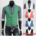 2015 fashion slim fitness  men vest spring Men's Waistcoat blazer vests  5 color Men Tops clothing