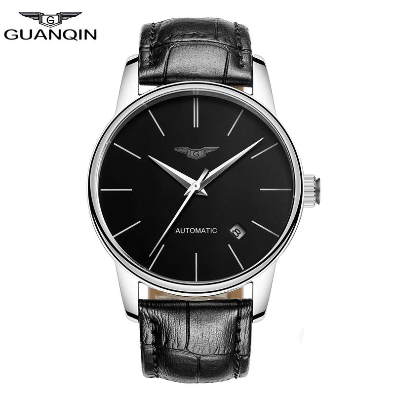 Prix pour 2016 Nouveau GUANQIN casual Montre Hommes En Cuir véritable Ultra-mince montre-bracelet mâle Automatique Auto-Vent simple Montre-Bracelet horloge heures