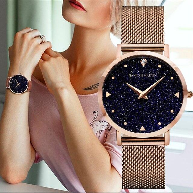 d234ac290a4 Mulheres Relógios Japão Movimento de Quartzo Marca de Luxo Da Moda Céu  Estrelado Ouro Rosa de