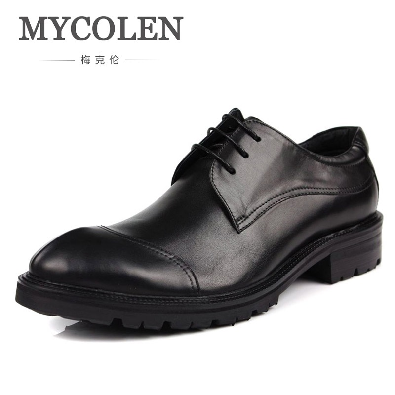 MYCOLEN Male Shoes Classic Business Genuine Leather Thick Sole Antislip Italian Men Dress Shoes For Wedding Formal Shoes Men men shoes genuine leather italian designer fashion dress shoes classic formal brogue shoes for male footwear wedding business