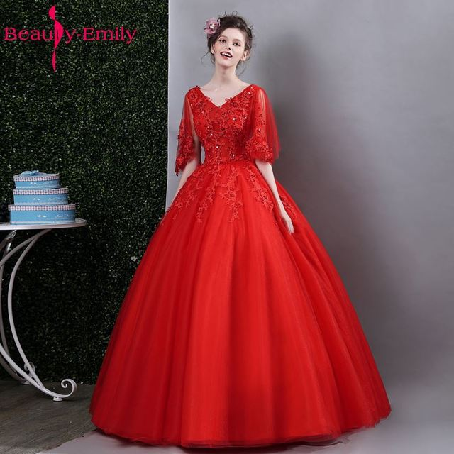 Beauty Emily Red Tulle Ball Gown Wedding Dresses 2017 Half Sleeve V-Neck  Appliques Beading 4c81fbb4385f