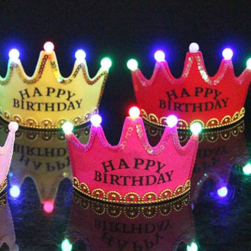 Lighting Party Hat Adult Kids Birthday Crown Cap Happy Multi Color Light Up LED