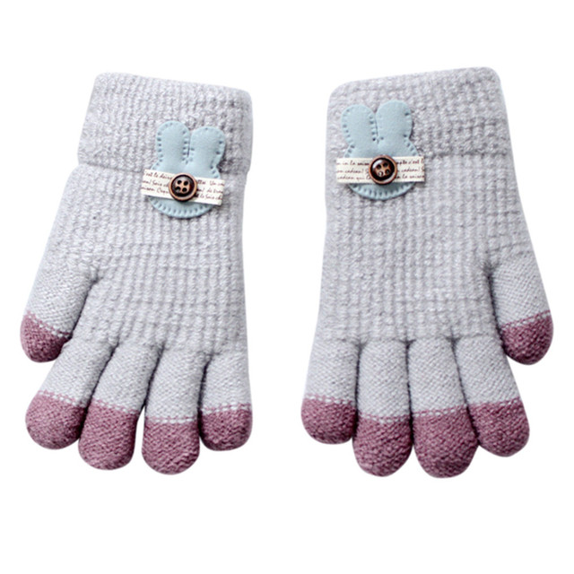 ad369a017 Winter Warm Baby Gloves Knitted Stretch Mittens Kids Solid Girls Gloves  Full Finger Glove Knitted Random Boys Gloves L0924