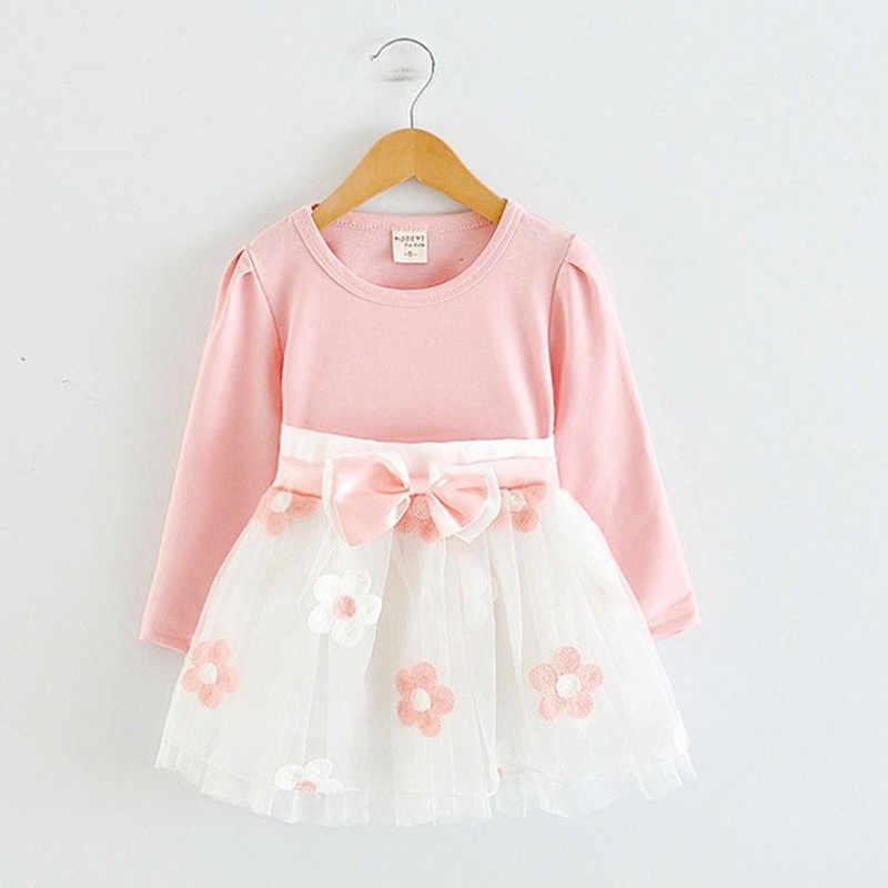 ddf349a43 Flor Vestido de manga larga para niña 1 año bebé niña vestido de cumpleaños Bebé  Ropa