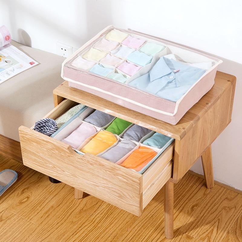 Home Storage Box wiht lid Ties Socks Shorts Bra Underwear Storage Bins Cube Divider Closet Organizer Finishing box Cloth+PVC