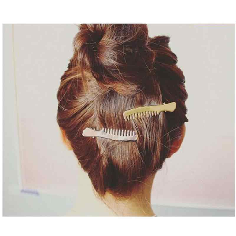 New Hair Jewelry Fashion Gold Silver Coated Hair Comb Shaped Hair Clips For Women Jewellry Accesorios Hair Accessories