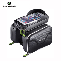 ROCKBROS Waterproof Bycle Bag Double IPouch Cycling Pouch Frame Front Head Top Tube Bag For 6