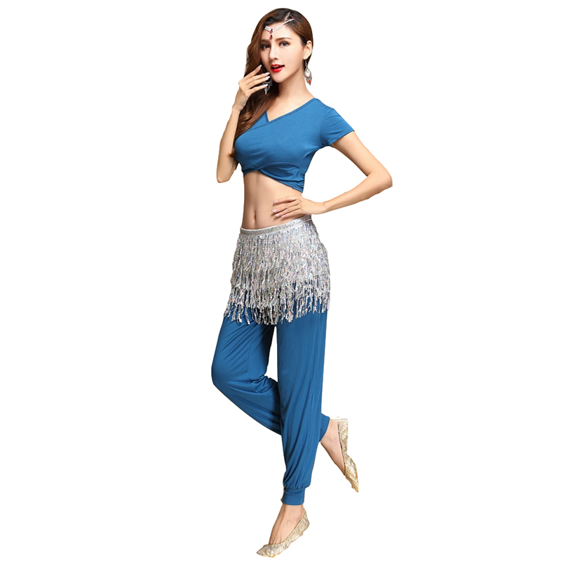 2018 Women Belly Dance Clothing Modal Outfit Girls Bellydance Practice Trousers Costume Set Top Belt Pants Sequins Hip Scarf